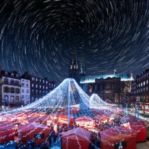 [Composite] Vortex Startrail + Marché de Noël- Clermont Ferrand